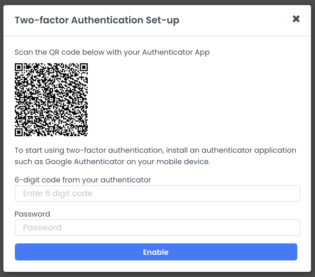 A screenshot of the two-factor authentication pop-up where must scan a QR code, then enter a 6-digit code from your authenticator alongside your password
